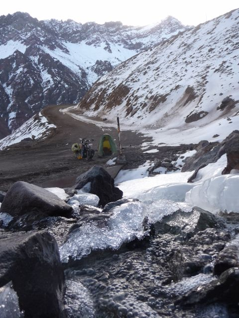 23 May 2009<br>Bivouac near the snow and ice, after a hard day. 3500m, the highest and coldest camp of my trip. <br> Cristo Redemptor, listed Chile