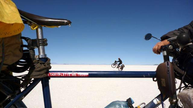 12 Sep 2009<br>The Salar white uniform ready to play special effects photos. Geoffrey cycled on mine! Salar de Uyuni, Bolivia