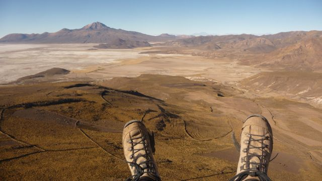 14 Sep 2009<br>Paragliding from the Colo Colo volcano on the edge of Salar de Uyuni. Yes, my shoes are starting to not look like anything! Sud Lipez, Bolivia