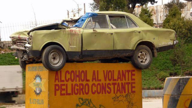 01 Oct 2009<br>Nice advertising against drinking and driving. They do not go hand dead! La Paz, Bolivia