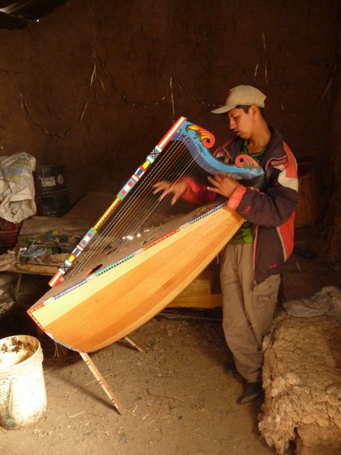 29 Oct 2009<br>Strange music and harmony out of a house on the edge of our road. A look inside Rodo plays the harp, an instrument typical of the region. For us, it will play in his barn, short musical break in the ascent of the mountains