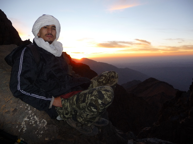 16 Sep 2008<br>Nocturnal ascent of Mount Toubkal. The guide Michael and FOR, Abdelali the sunrise Toubkalien.