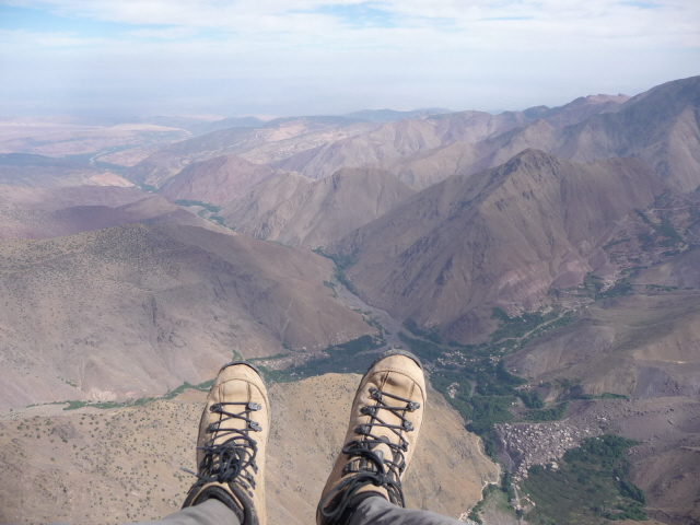 16 Sep 2008<br>Roll in the air for paragliding flight from the summit of Toubkal.