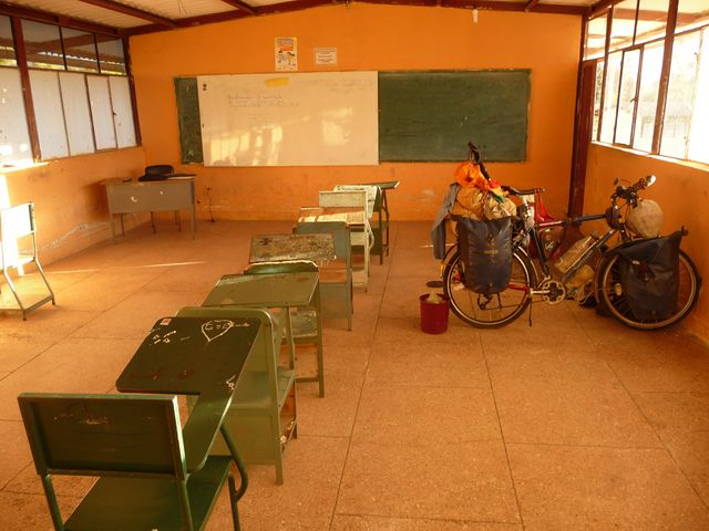 Here I am housed in a classroom for the night. The children are on holiday anyway! Tulcan, Ecuador