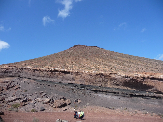 Lanzarote, Canary Islands. Volcanic landscape. So Dad, what is it like rock strata?