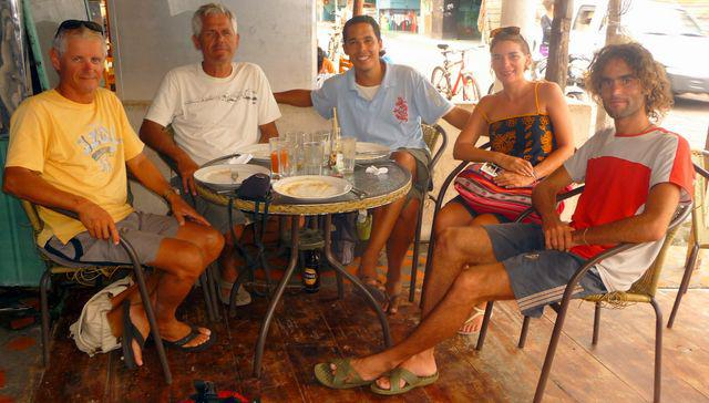 The crew of Tago Mago full just before the start of the Galapagos. From left to right Fred, Jean Pierre Laurent, Delphine and moi.Isla Santa Cruz, Galapagos