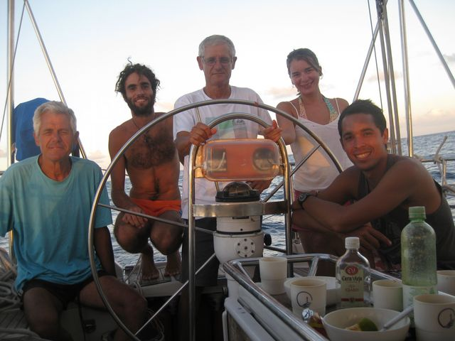 A nice bunch of winners! Sailboat Tago Mago, Pacific Crossing between Galapagos and the Marquesas