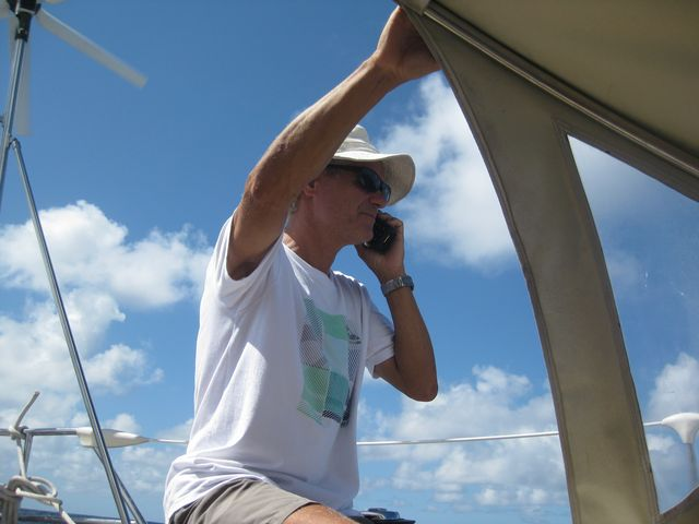 Fred called the satellite phone his wife in France, which acts as a rear base. Sailboat Tago Mago, Pacific Crossing between Galapagos and the Marquesas