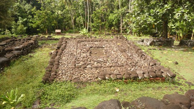 04 May 2010<br>A marae, a sacred place of ancient Polynesian populations. We are one of the greatest archaeological sites Polynésie.Iva Oa, Marquesas Islands