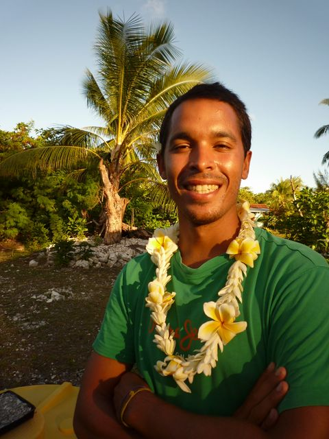21 May 2010<br>Laurent, one of the crew of Tago Mago in local color. Fakarava, Tuamotu, French Polynesia